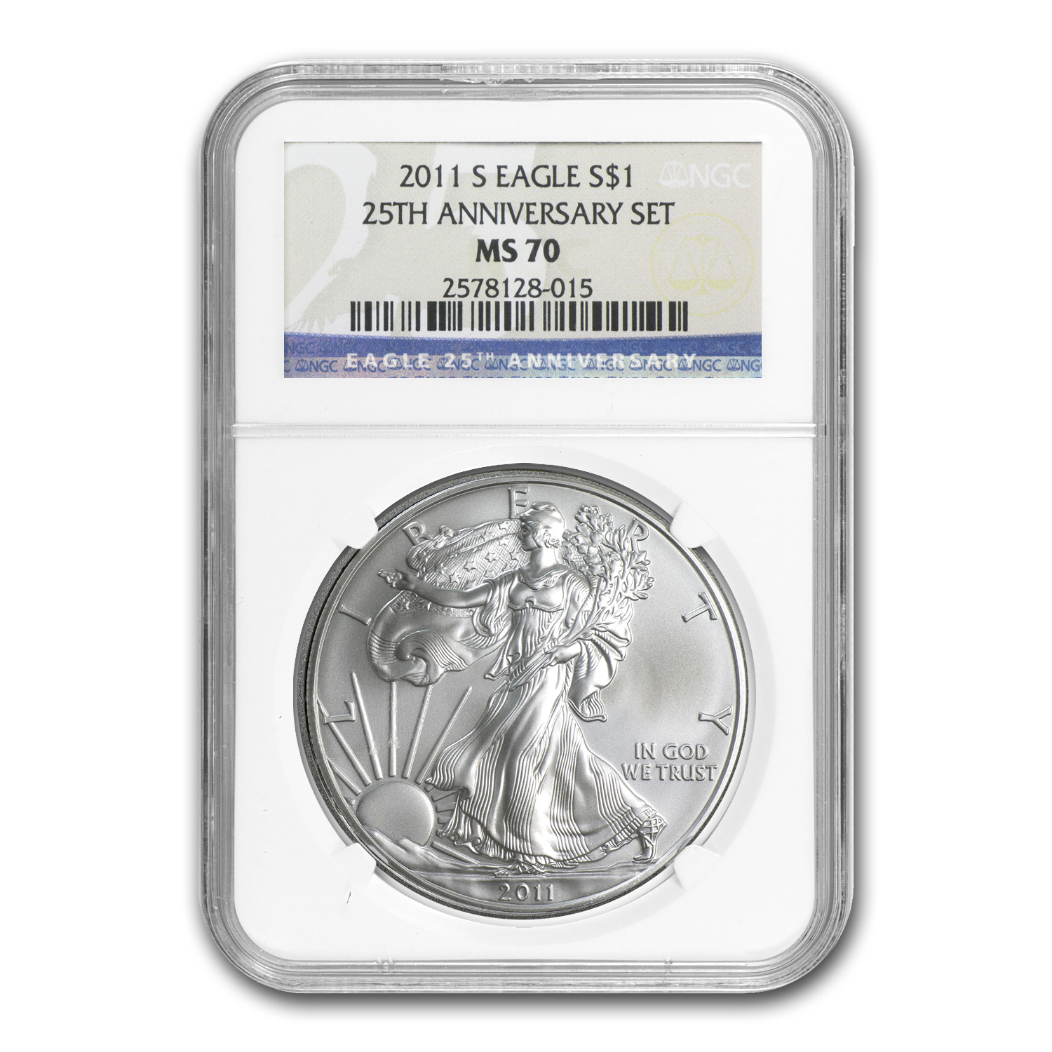 2011-S Silver American Eagle MS-70 NGC (25th Anniv)